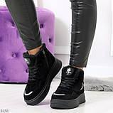 Высокие замшевые черные зимние кроссовки + светоотражающие вставки, фото 9