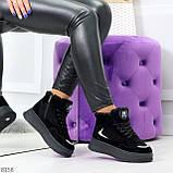 Высокие замшевые черные зимние кроссовки + светоотражающие вставки, фото 10