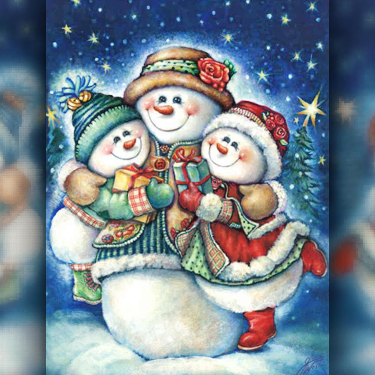 TWD70013 Набор алмазной вышивки Снеговички с подарками