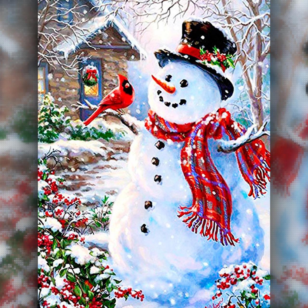 TWD70015 Набор алмазной вышивки Праздничный снеговик с птицей