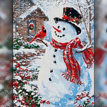 TWD70015 Набор алмазной вышивки Праздничный снеговик с птицей, фото 2