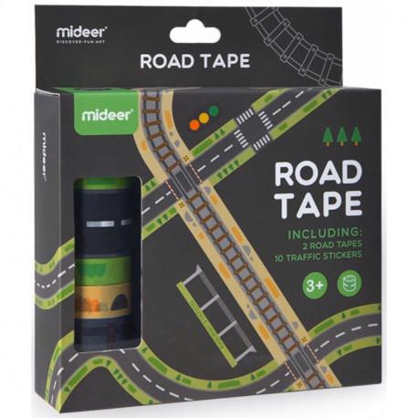 """Набор """"Автомобильная дорога, ж/д пути, дорожные знаки"""" на клейкой основе MiDeer Toys"""