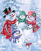 Картина по номерам новогодняя Идейка Снеговички 40*50 см (без коробки) арт.KHO2813