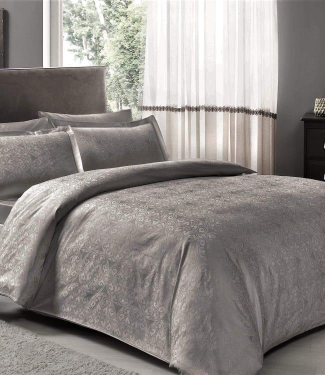 Комплект постельного белья Tac Евро сатин-жаккард Nodus antrasit арт.TAC60208381