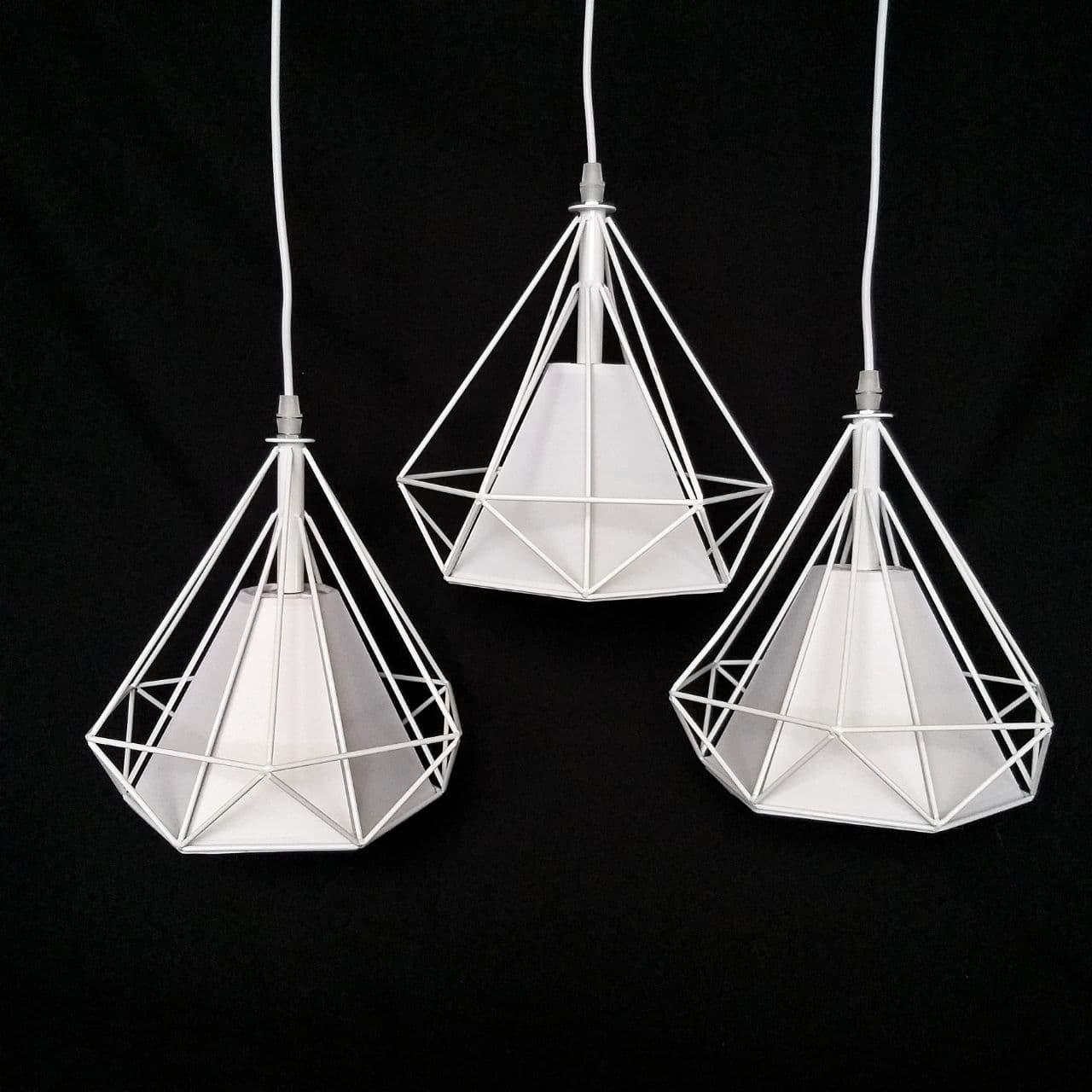 Люстра подвесная на 3 лампы лофт сетка белая с регулировкой высоты на планке YS-TY004/3 WH+WH