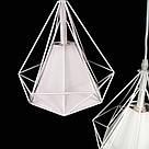 Люстра подвесная на 3 лампы лофт сетка белая с регулировкой высоты на планке YS-TY004/3  WH+WH, фото 2