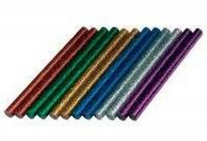 Клей для термопістолета 30 см 0,7 см кольоровий з глітером, мікс кольорів