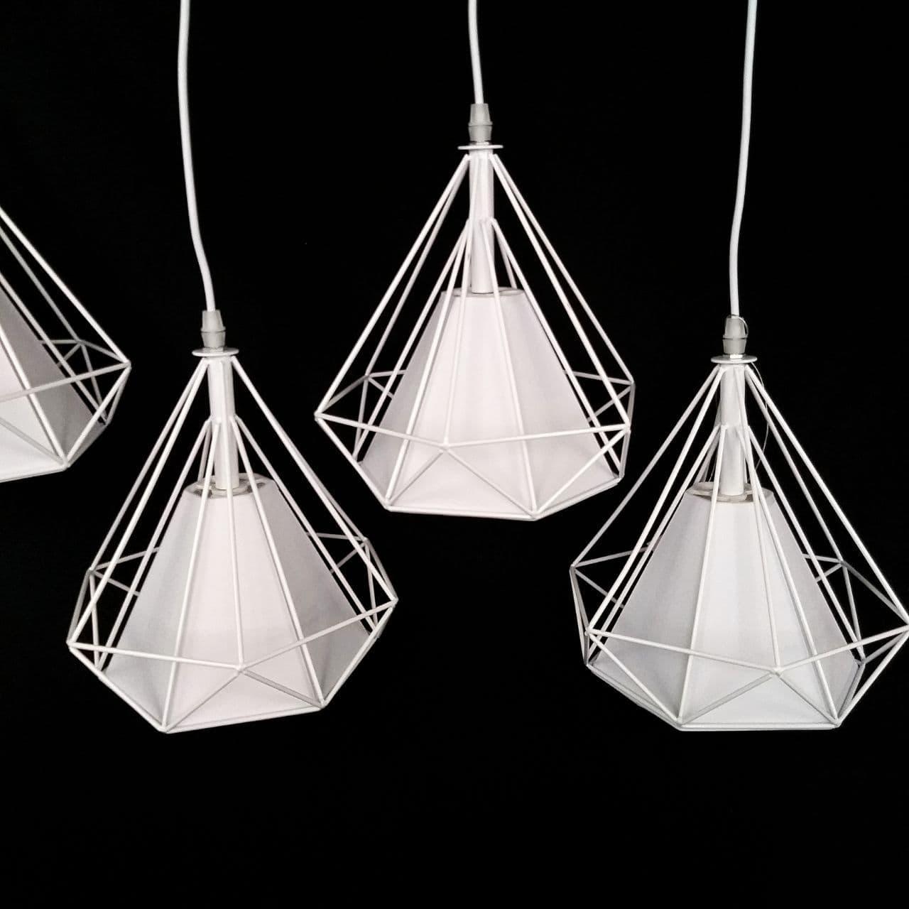 Люстра подвесная на 4 лампы лофт сетка белая с регулировкой высоты на планке YS-TY004/4  WH+WH