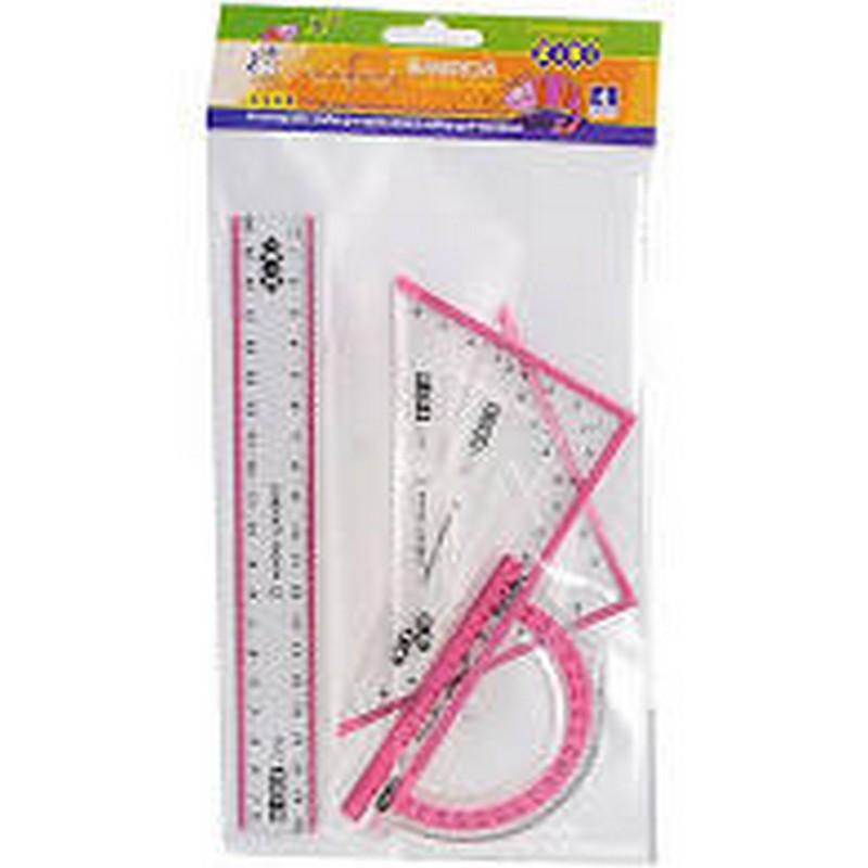 Набір для креслення ZiBi: лінійка 20см, 2 косинця, транспортир, з рожевою смужкою