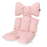 Матрасик-вкладыш в коляску Miracle Baby Розовый Звезды 38*70 см