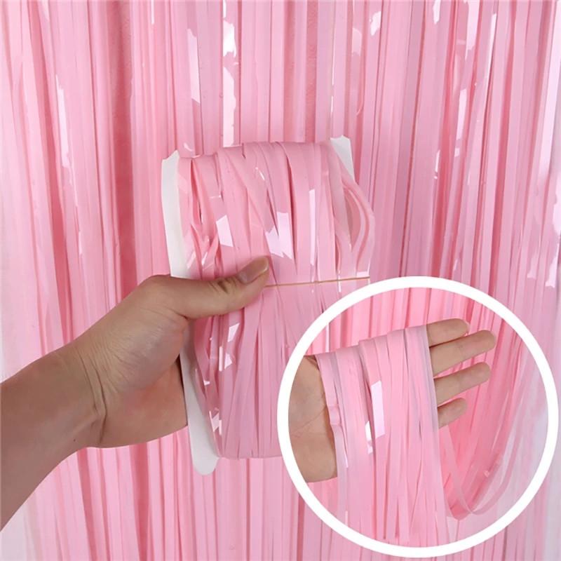 Дощик штора для фотозон макарун рожевий 1*2 м