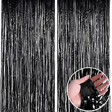 Дождик штора для фотозон чёрная  1*2 м
