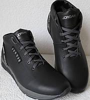 Jordan RP зимние мужские кроссовки кожа черные с белым натуральный мех шерсть зима комфорт, фото 1