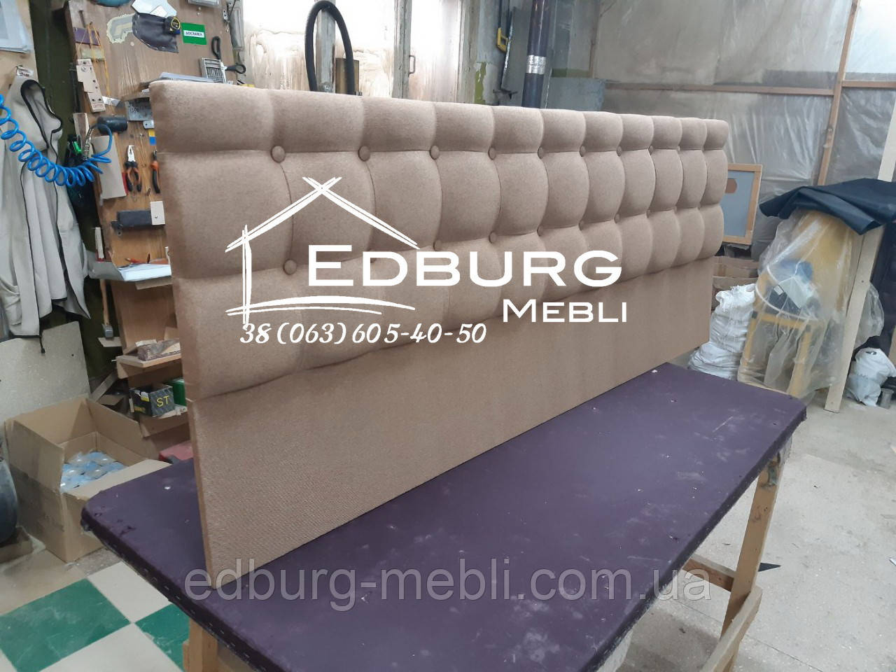 Изголовье кровати, стеновая панель  Квадро екокожа