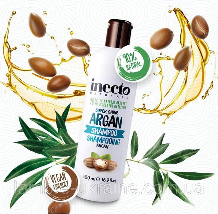 Увлажняющий шампунь от Ламбре для блеска волос с аргановым маслом Inecto Naturals Argan Shampoo 500 ml