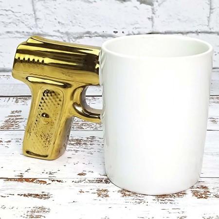 """Чашка """"Пістолет"""", біла+золото, Кружка керамическая """"Пистолет"""""""