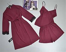 Жіночий комплект одягу для сну і вдома халат, піжама.