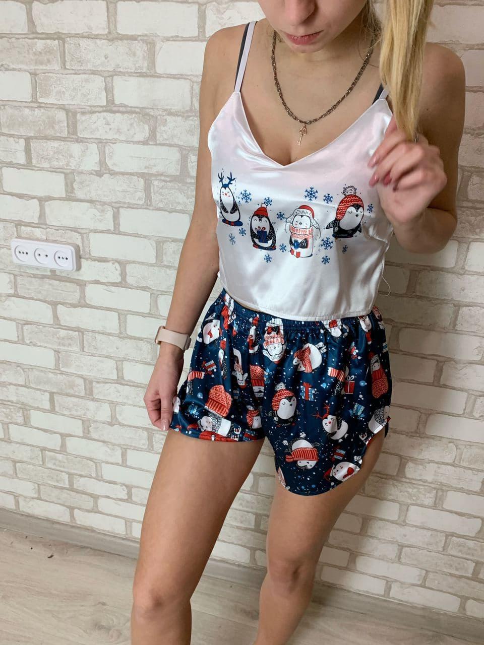 Пижама женская атласная в расцветке ПИНГВИНЫ  Цвета размеры в наличии