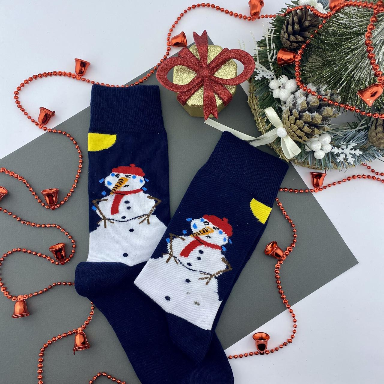 Чоловічі шкарпетки стрейчеві новорічні Сніговик Сині
