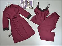 Комплект з мереживом халат, піжама ( майка+штани). Домашня одяг жіноча.