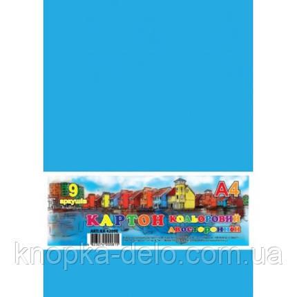 Картон кольоровий двобічний, набір  9арк., А4, в п/п пакеті_КА4209Е, фото 2
