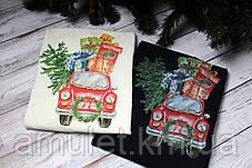 Свитшот молочный  новогодний с принтом  (для мужчин и женщин) Car with gifts, фото 2