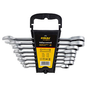 Набір гайкових ключів з тріскачкою 8шт (8-19мм) CrV satine SIGMA 6010521