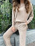 Костюм женский кофта + штаны чёрный, бежевый, кэмел 42-44,46-48, фото 2