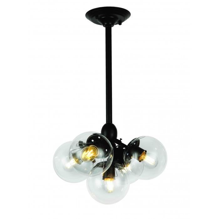 Люстра Bubble в стиле Loft с плафонами шарами LV-черный корпус+прозрачные плафоны 756PL385-5 BK+CL