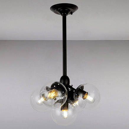 Люстра Bubble в стиле Loft с плафонами шарами LV-черный корпус+прозрачные плафоны 756PL385-5 BK+CL, фото 2