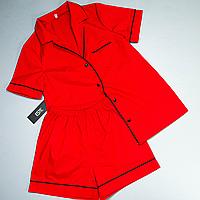 Пижама женская Este рубашка и шорты хлопковая с кантом красная