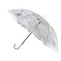 Женский полуавтоматический зонтик-трость с ажурным принтом от SL, белый, SL18101-1