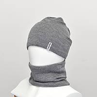 Комплект  Робин (шапка+снуд)  на флисе светлый серый