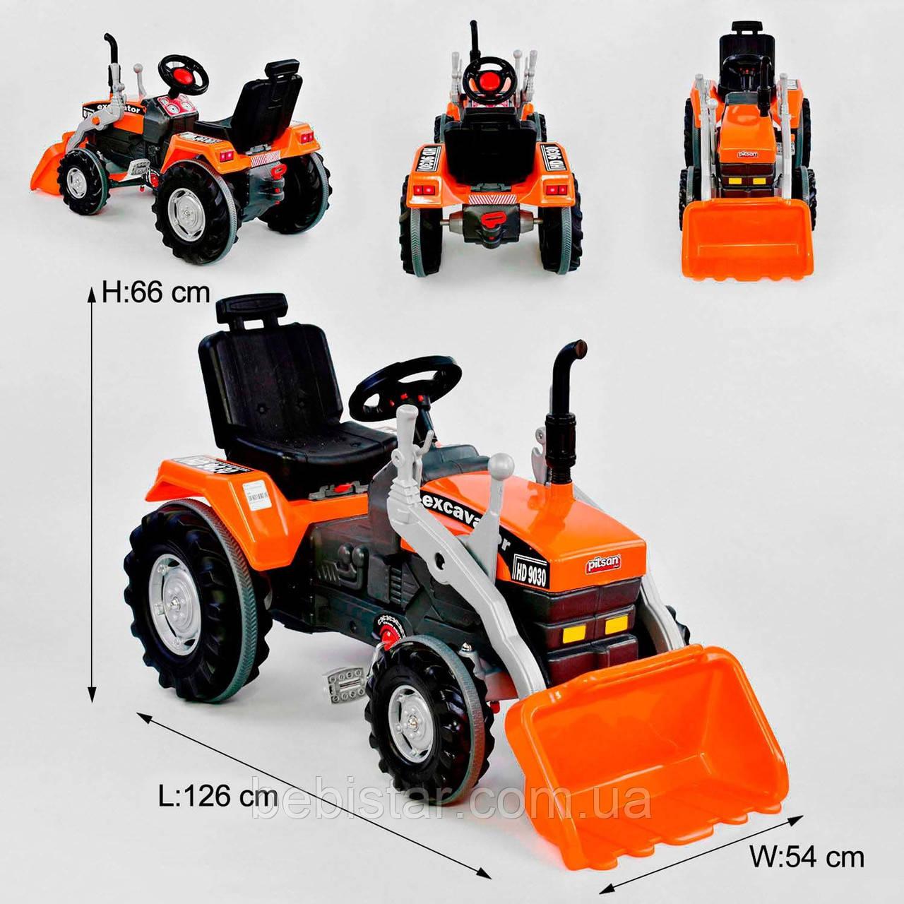 Веломобиль трактор педальный оранжевый с ковшом прорезиненные колеса цепной привод с звуковым сигналом от 3лет
