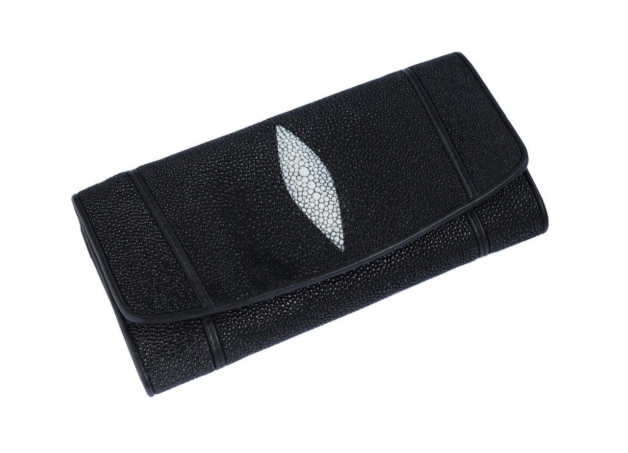 Кошелек из кожи ската Ekzotic leather Черный (stw 142)