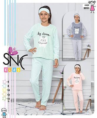 Детская пижама для девочки флисовая с длинным рукавом SNC Турция Kira color