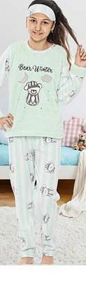 Детская пижама для девочки флисовая SNC Турция с длинным рукавом BEAR blue