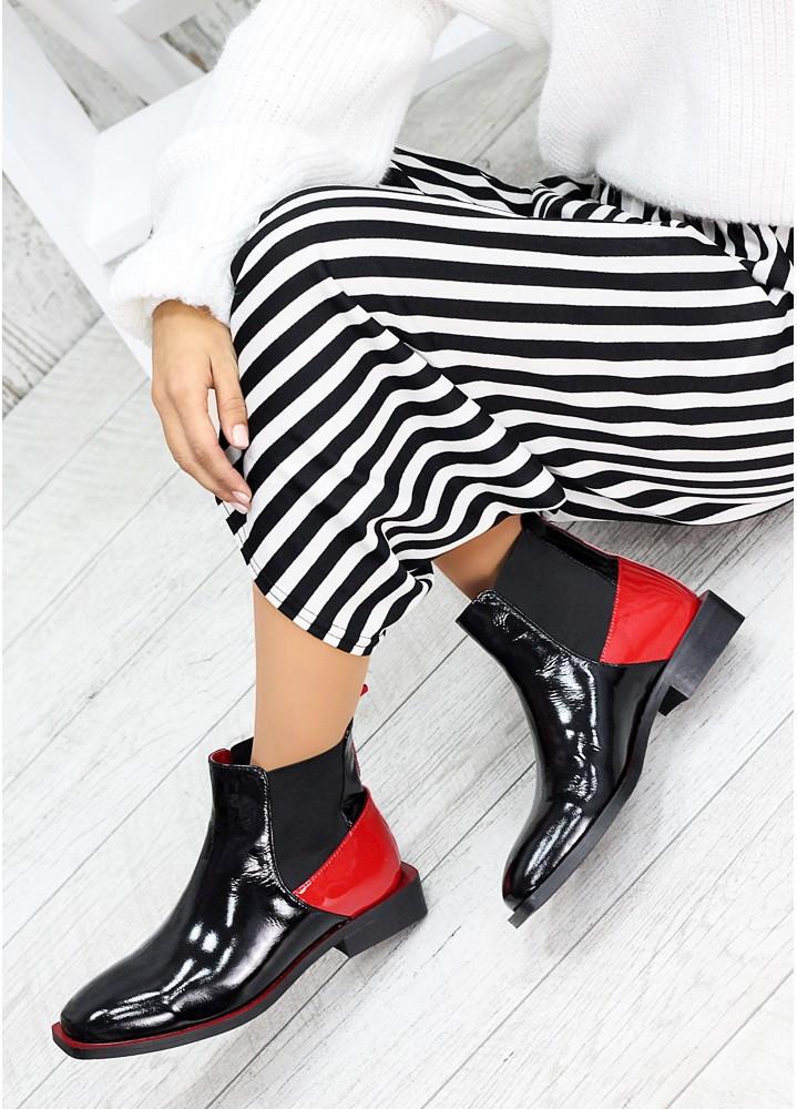 Дизайнерські жіночі черевики лакові з червоними вставками, розміри 36-40