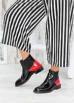 Дизайнерські жіночі черевики лакові з червоними вставками, розміри 36-40, фото 2