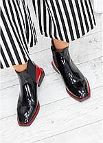 Дизайнерські жіночі черевики лакові з червоними вставками, розміри 36-40, фото 3