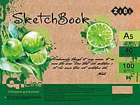 Скетчбук А5, 40 арк., пружина, кремовий блок 100 г/м2, ART Line