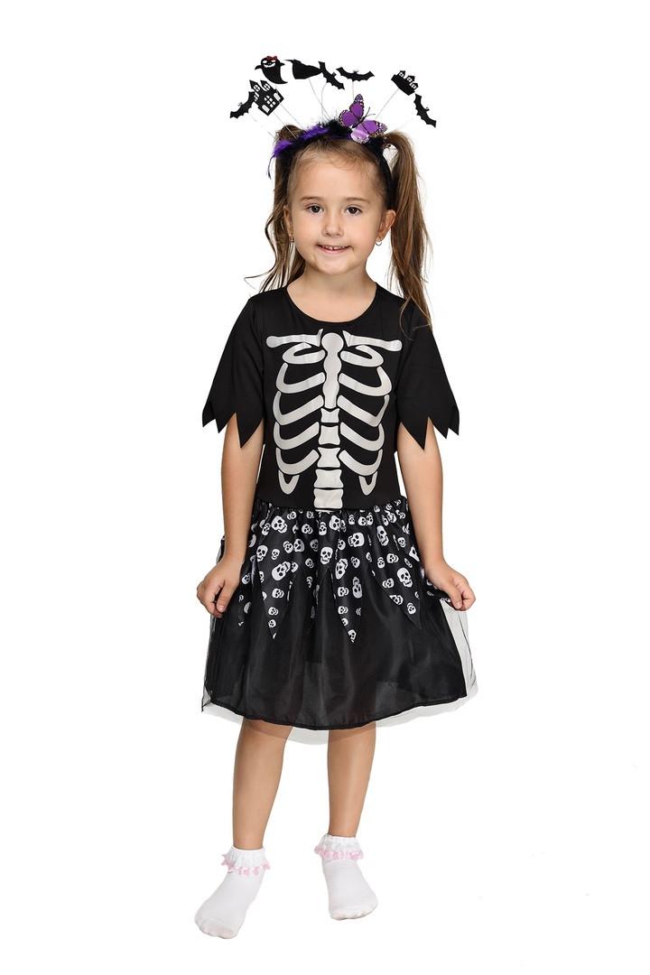"""Детский карнавальный костюм """"Скелет"""" для девочки"""