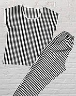Женская, подростковая, детская пижама (Штаны и Футболка), Полоска черно - белая