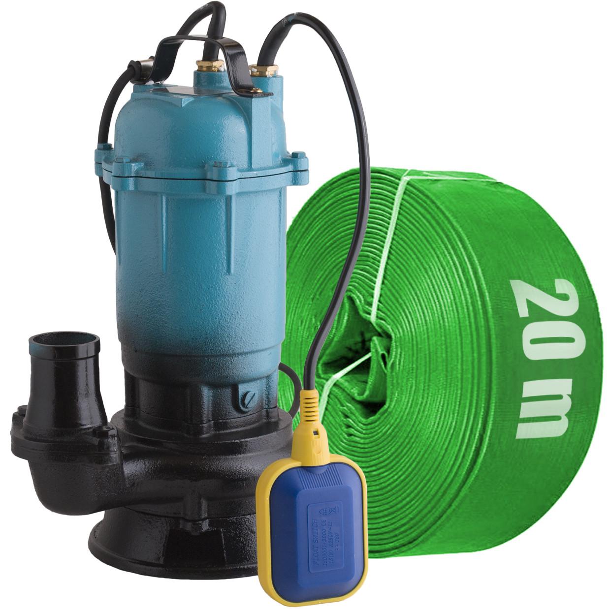 Delta / Фекальный насос с измельчителем + шланг 20м зеленый DELTA WQD чугунный корпус