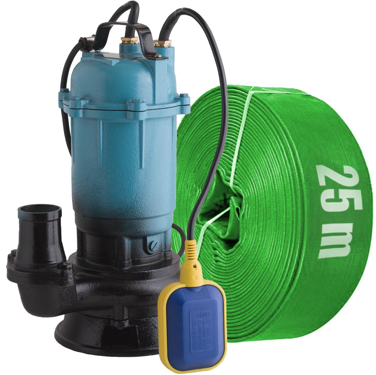 Delta / Фекальный насос с измельчителем + шланг 25м зеленый DELTA WQD чугунный корпус