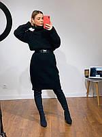 Женский теплый удлиненный Свитер-туника объемный свитер вязанное платье с поясом черное