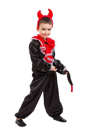 """Карнавальный детский сатиновый костюм """"Чёртик"""" для мальчика, фото 2"""