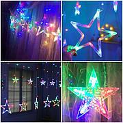 Светодиодная RGB LED гирлянда штора Звезды цветная с пультом на окно елку дом для улицы уличная разноцветная