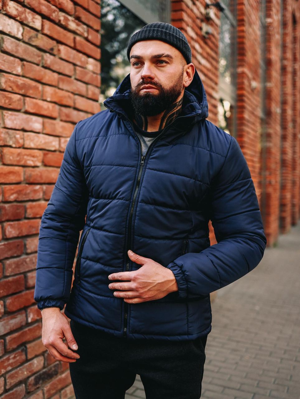 Мужская синяя короткая зимняя куртка