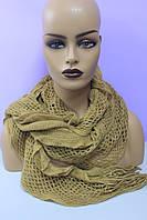 Женский шарф ажурный однотонный